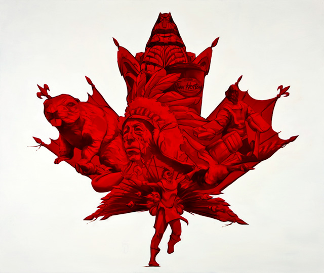 Red Abd Whiete Painting Canada